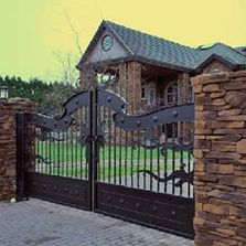 Residential ornate iron gate