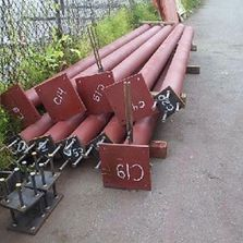 Red metal posts